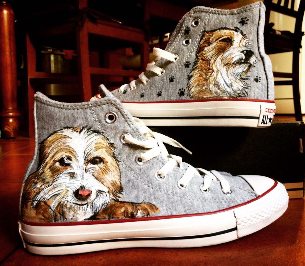 Scarpe Converse All Star personalizzate dipinte a mano con l'immagine del tuo cane