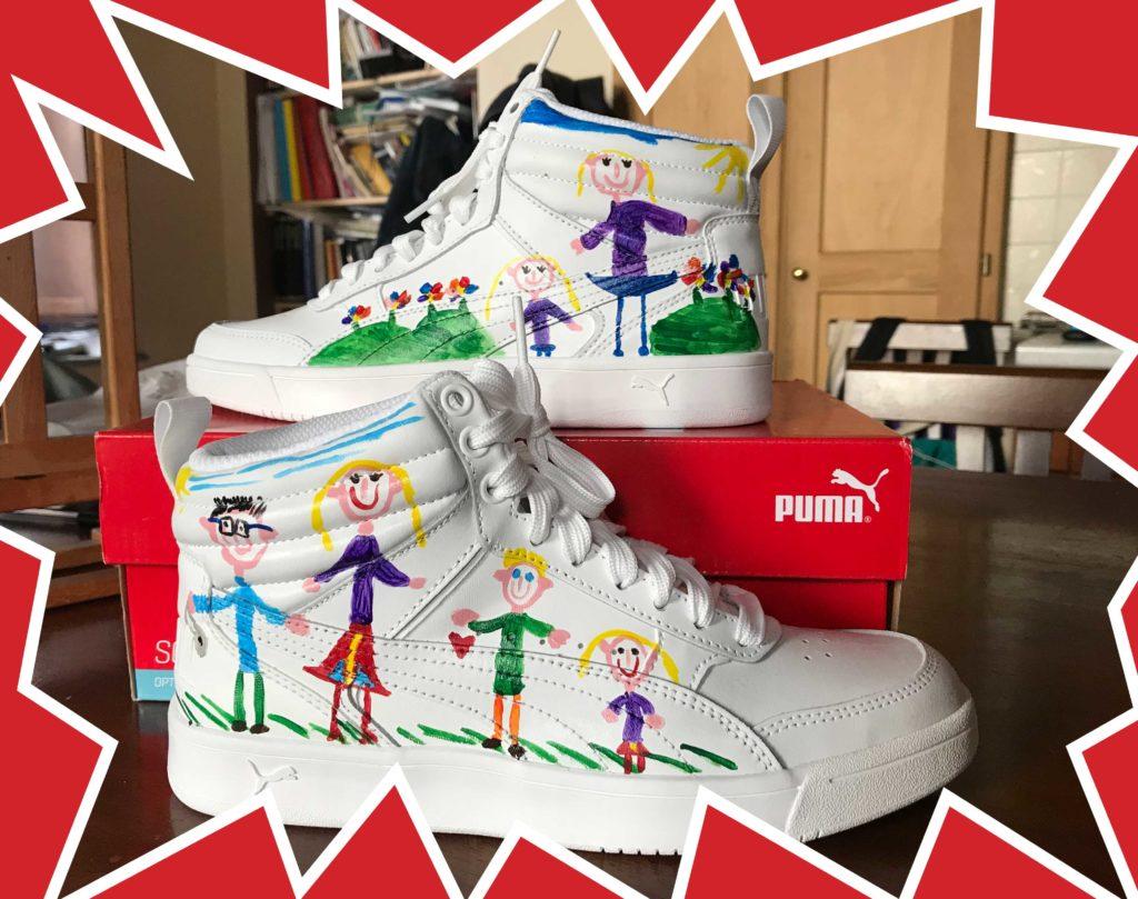 Idee regalo per lui e per lei: i disegni dei tuoi bimbi sulle tue scarpe personalizzate dipinte a mano