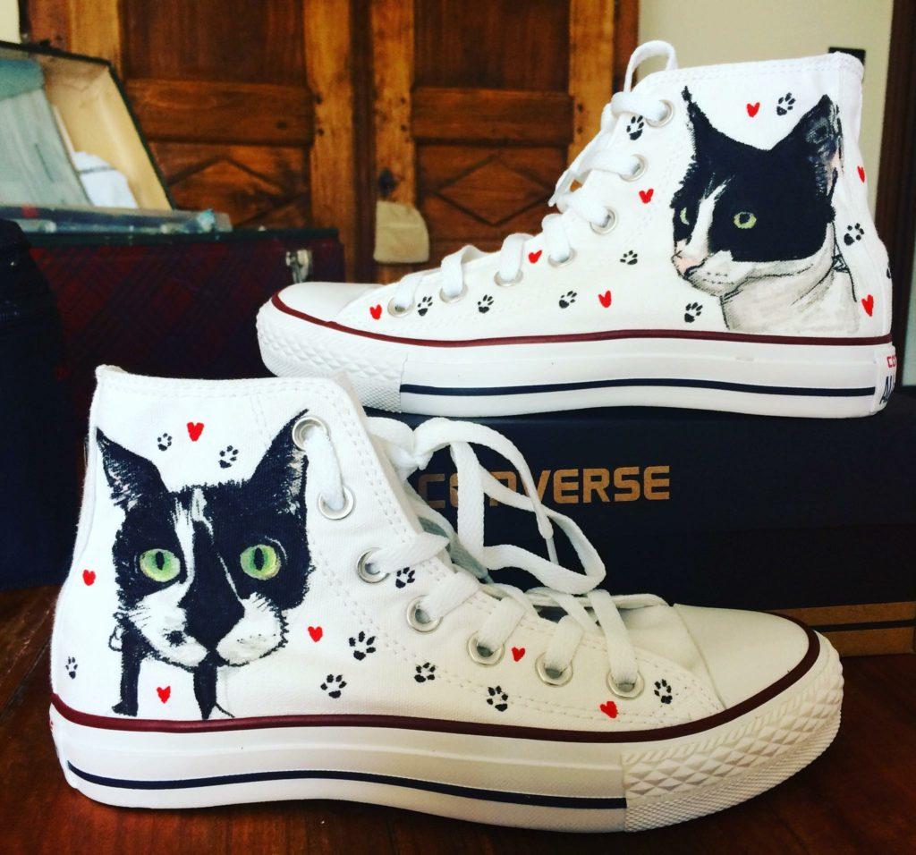 Scarpe Converse All Star personalizzate dipinte a mano con l'immagine del tuo gatto