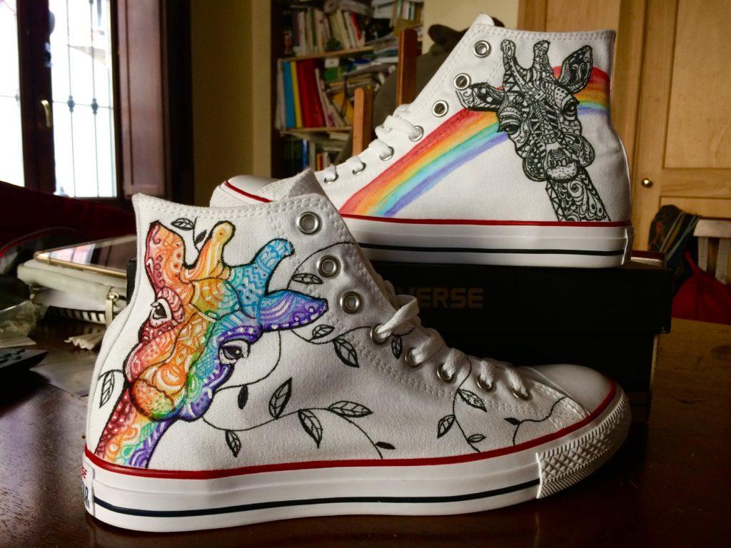 Scarpe Converse All Star personalizzate dipinte a mano con giraffa