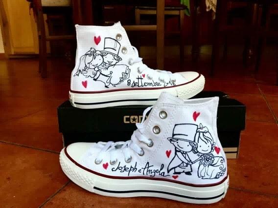 Idee regalo per lui e per lei: Scarpe Converse All Star personalizzate dipinte a mano per Matrimonio