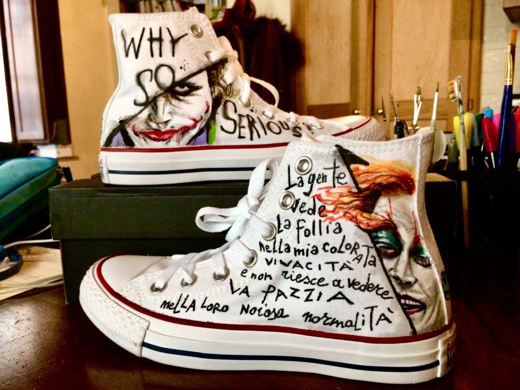 """Scarpe Converse All Star personalizzate dipinte a mano a tema """"follia"""""""