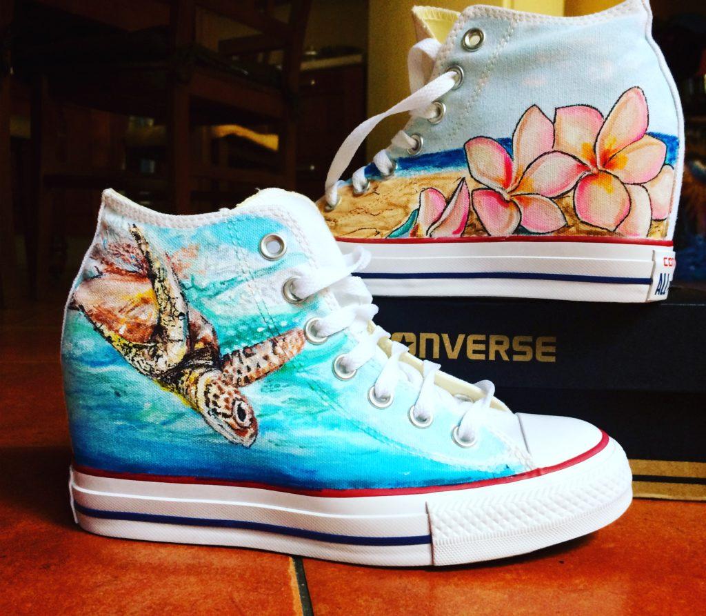 Scarpe Converse All Star personalizzate dipinte a mano con l'immagine di una tartaruga